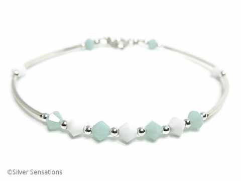 Mint Green & White Swarovski Crystals Elegant Bangle Bracelet With Sterling Silver Curve Tubes